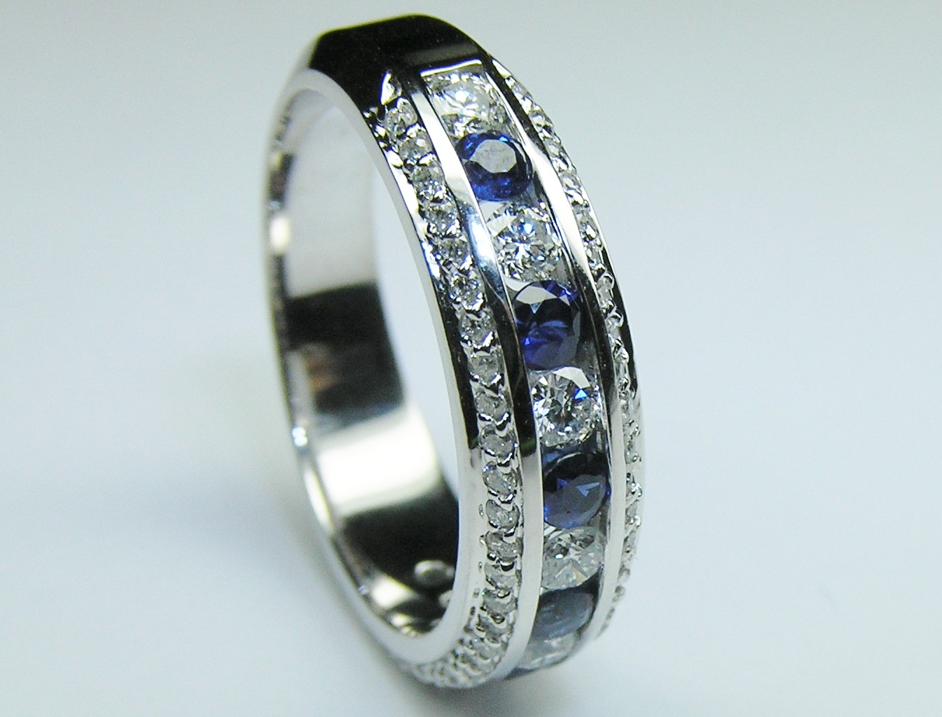 Three Row Diamonds & Blue Sapphire Wedding - Anniversary Ring 1.4 TCW