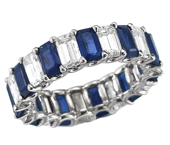 bands wedding diamond anniversary white gold pin sapphire blue band