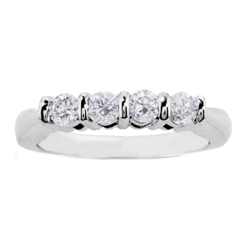 Four Stone Round Diamonds Wedding Band H VS 0.60 tcw. In Platinum