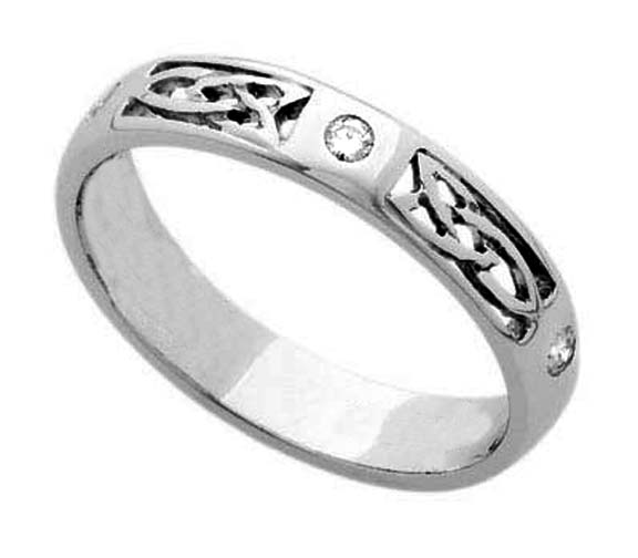 Three Stone Bezel Set Round Diamond Celtic Wedding Band, 0.09 CT in 14k white gold