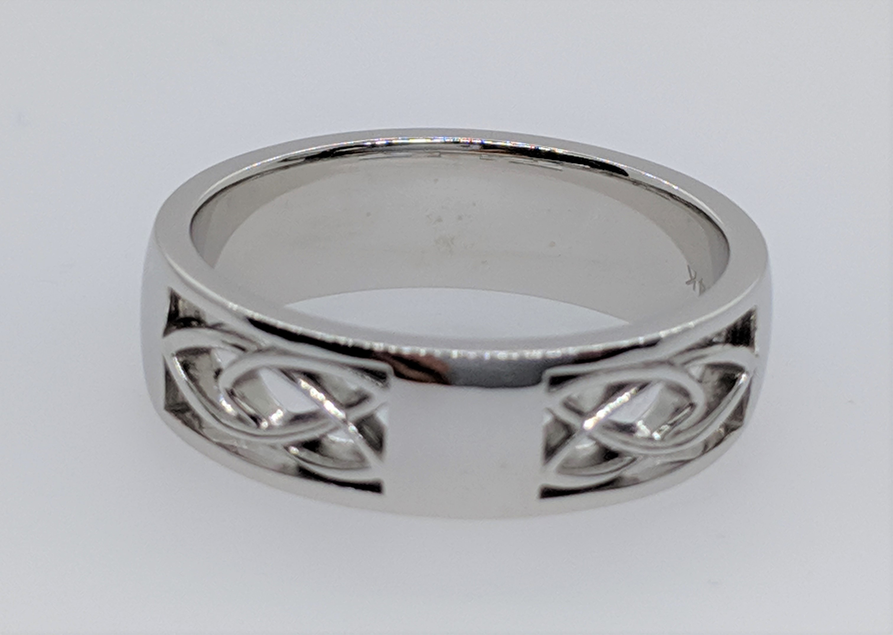 Celtic Wedding Band 14k white gold, 5mm wide