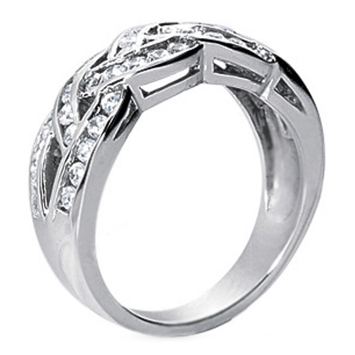 Woven Diamond Wedding Band 0.92 TCW in 14K White Gold
