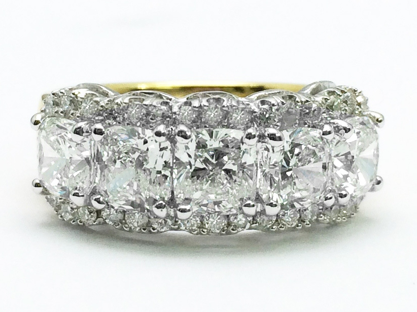 Two Tone Five Stone Cushion Diamond Wedding Ring