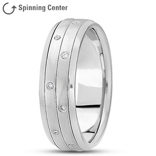 Two Row Spinning Meditation Diamond Ring in Platinum 0.16 tcw.