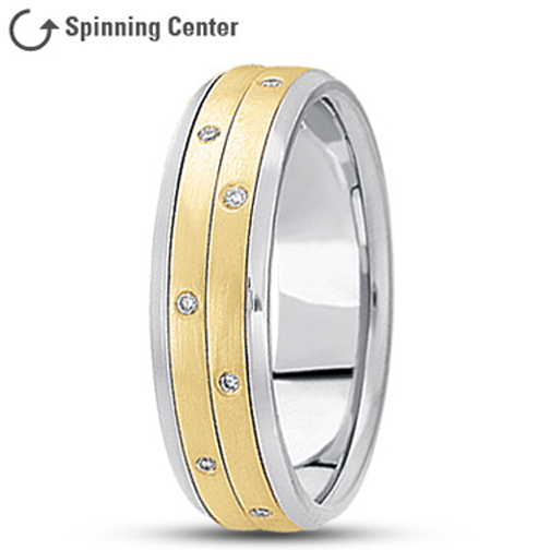 Diamond Two Row Spinning Ring in 14K Two Tone Gold 0.16 tcw.