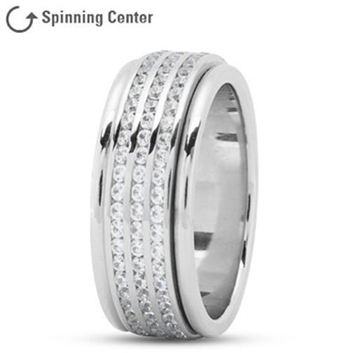 Three Row Channel Diamond Spinner Ring