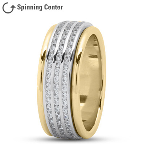 Three Row Spinning Diamonds Wedding Ring in 18K Yellow and White Gold 2.05 tcw.
