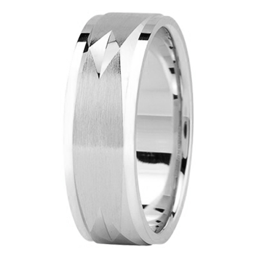 7 mm Men's Diamond Cut Engraved Square Wedding Band in 14K White Gold