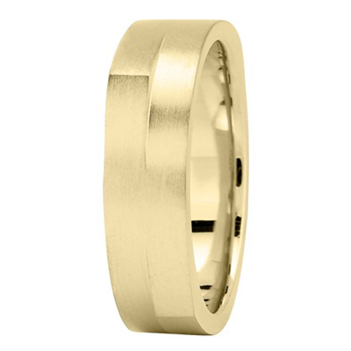 6mm Square and Round Men's Wedding Ring in Yellow Gold