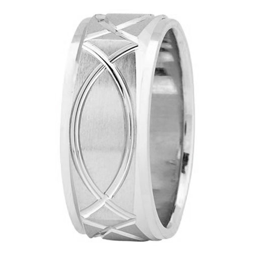 9mm Square Engraved Men's Wedding Ring in White Gold