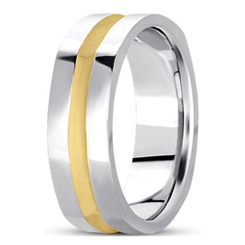5mm Square Indented Men's Wedding Ring in Two Tone Gold