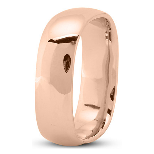 7mm Square Comfort Fit Men's Wedding Ring in Rose Gold
