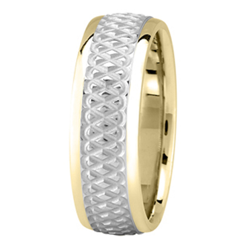 Everlasting Knot Men's Wedding Ring in Yellow and White Gold 7mm
