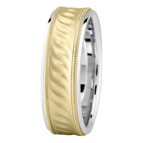 Two Tone Gold Milligrain Wave Wedding Band for Men