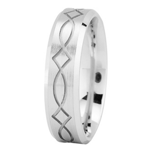 Ichthys Men's Wedding Ring in White Gold 6mm