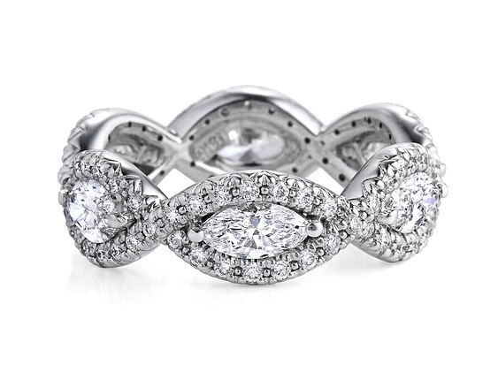 Marquise Diamond Halo Infinity Anniversary Ring 1.5 TCW in 14K White Gold