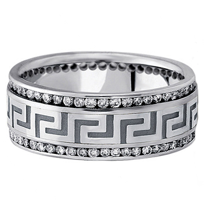 Greek Key Meander Men's Diamond Wedding Band in White Gold 9mm