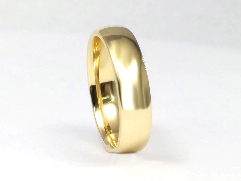 Men's Plain Wedding Band in 14k Yellow Gold