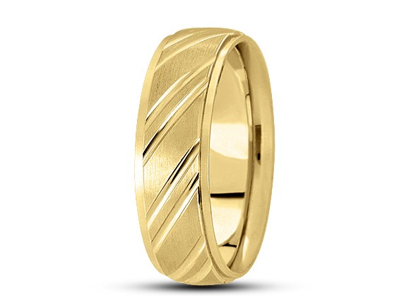 Yellow Gold Wedding Band with a Satin Finish 7mm