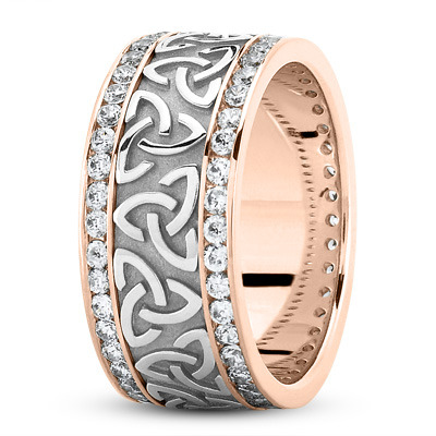 18 Karat Rose Gold Two Tone Celtic Knot Diamond 9mm Wide Wedding Ring