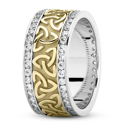 14 Karat White Gold Two Tone Celtic Knot Diamond 9mm Wide Wedding Ring