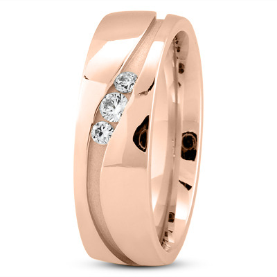 Round Diamond Channel Wave Rose Gold Wedding Ring
