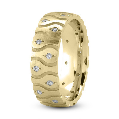 Satin Diamond Wave Yellow Gold Wedding Band