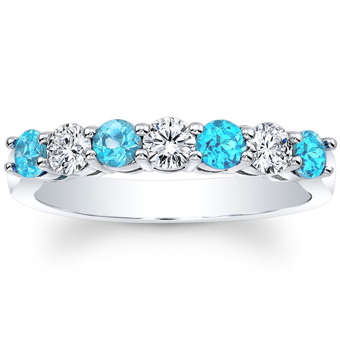 Seven Stone Round Diamonds & Blue Topaz Wedding Band 0.6 tcw. In 14K White Gold