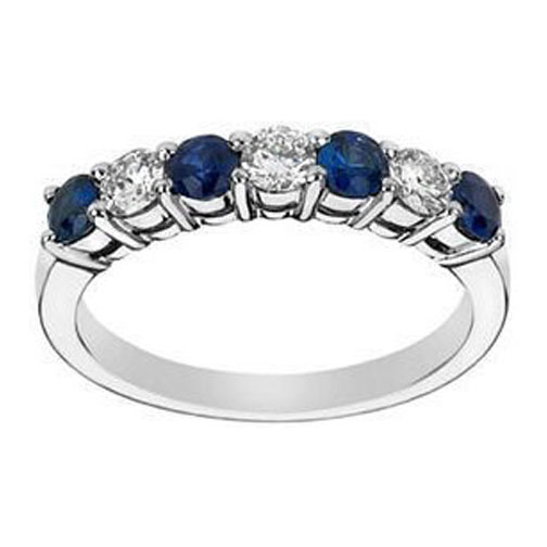 Seven Stone Round Diamonds & Blue Sapphires Wedding Band 0.60 tcw. In 14K White Gold