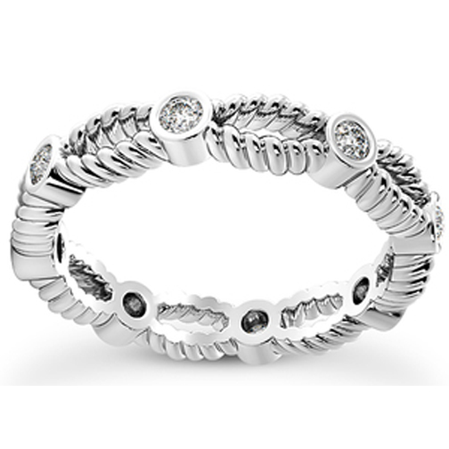Double Rope Bezel Diamond Eternity Wedding Band 0.21 tcw.