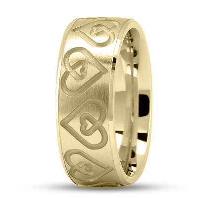 Engraved Double Heart Wedding Ring in Yellow Gold