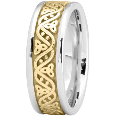 Celtic Wave Men's Wedding Ring in Yellow and White Gold
