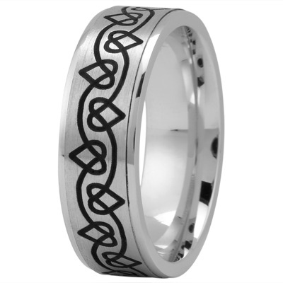 Celtic Men's Ring with Black Rhodium Hearts