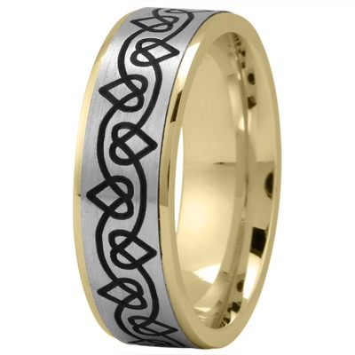 Celtic Men's Ring with Black Rhodium Hearts in Two Tone Gold