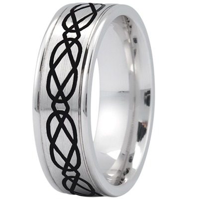 Celtic Men's Ring with Black Rhodium