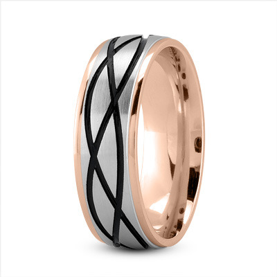 Celtic Men's Ring with Black Rhodium in Two Tone Rose Gold