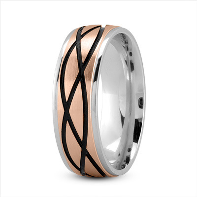 Celtic Men's Ring with Black Rhodium in White and Rose Gold