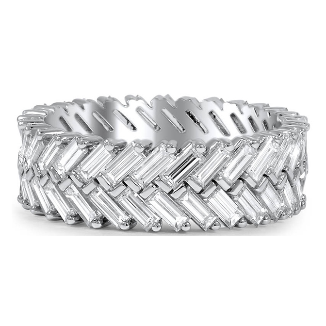Herringbone Baguette Cut Diamond Eternity Wedding or Anniversary Band