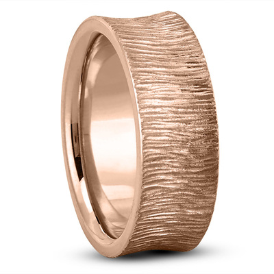 Concave Tree Bark Men's Wedding Band in Rose Gold