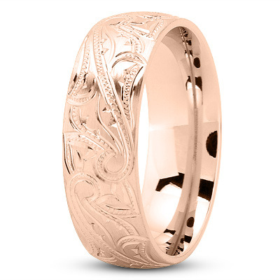 7mm Engraved Mens Wedding Band in Rose Gold