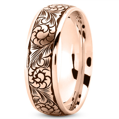 Black Rhodium Mens Wedding Band in Rose Gold