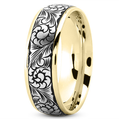 Two Tone Black Rhodium Mens Wedding Band