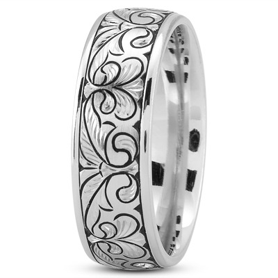 Floral Engraved Mens Wedding Band