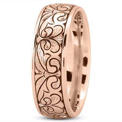 Floral Engraved Mens Wedding Band in Rose Gold