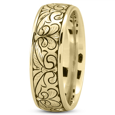 Floral Engraved Mens Wedding Band in Yellow Gold