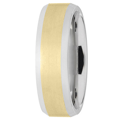 Wire Matte Beveled Two Tone Wedding Band