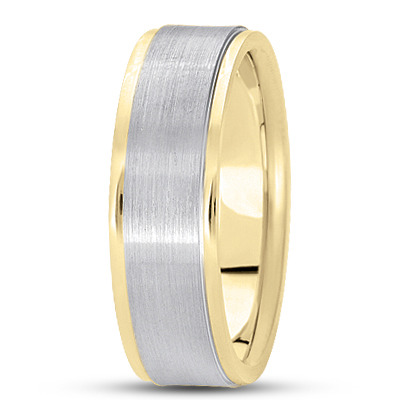 Wire Matte Raised Two Tone Wedding Band