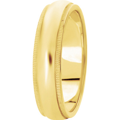 Domed Wide Milligrain Men's  Band in Yellow Gold