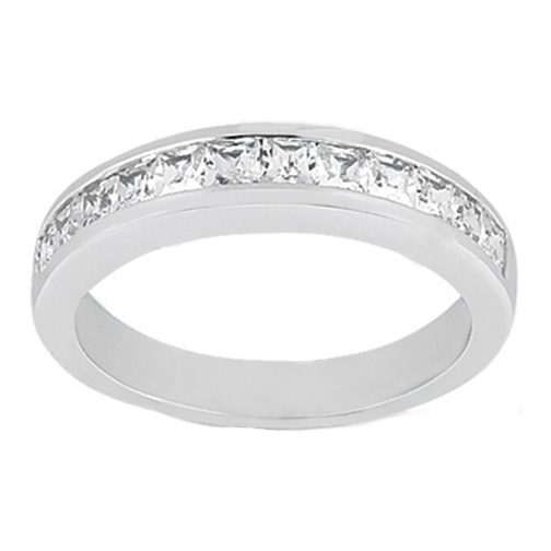 Princess Diamond Channel Set Wedding Band G-H VS 0.52 tcw. In 14K White Gold