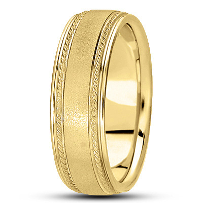 Satin Finish Rope Men's Wedding Band in Yellow Gold